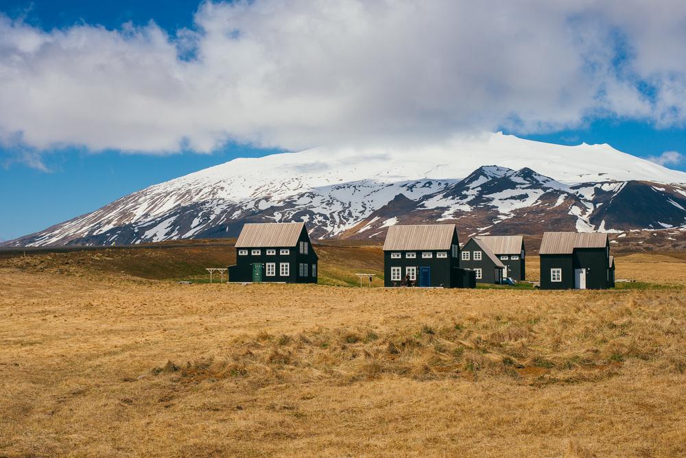 View over Snæfellsjökull from Arnarstapi.