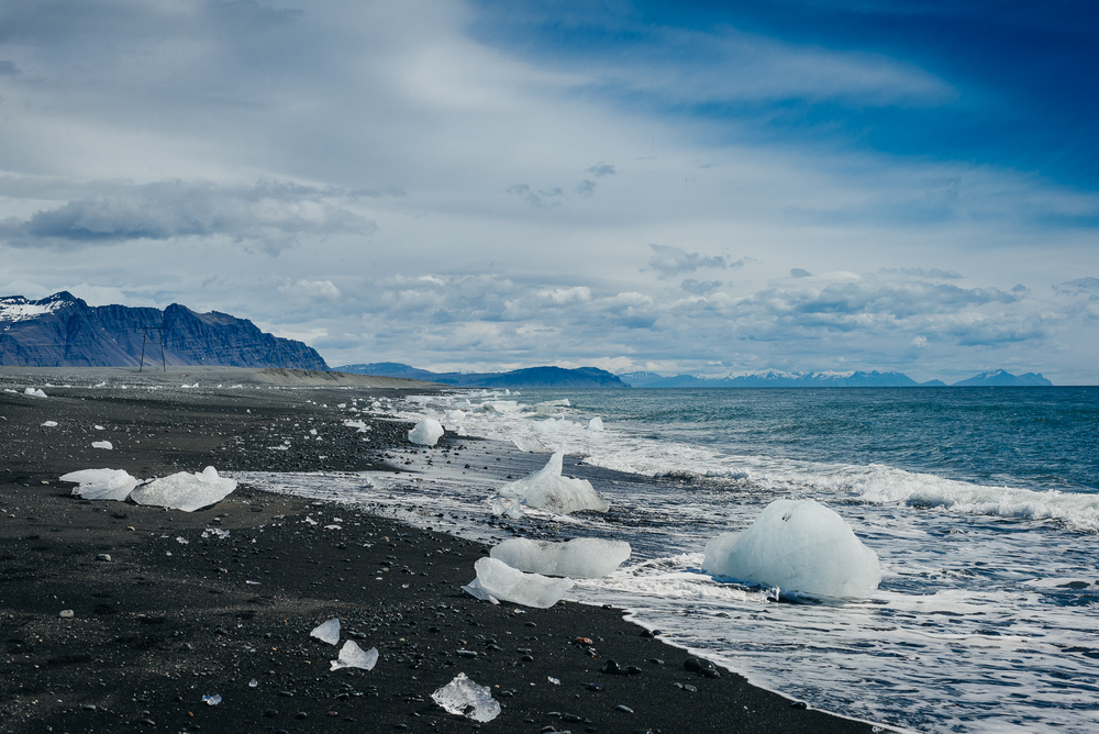 Black icy beach at Jökulsárlón.