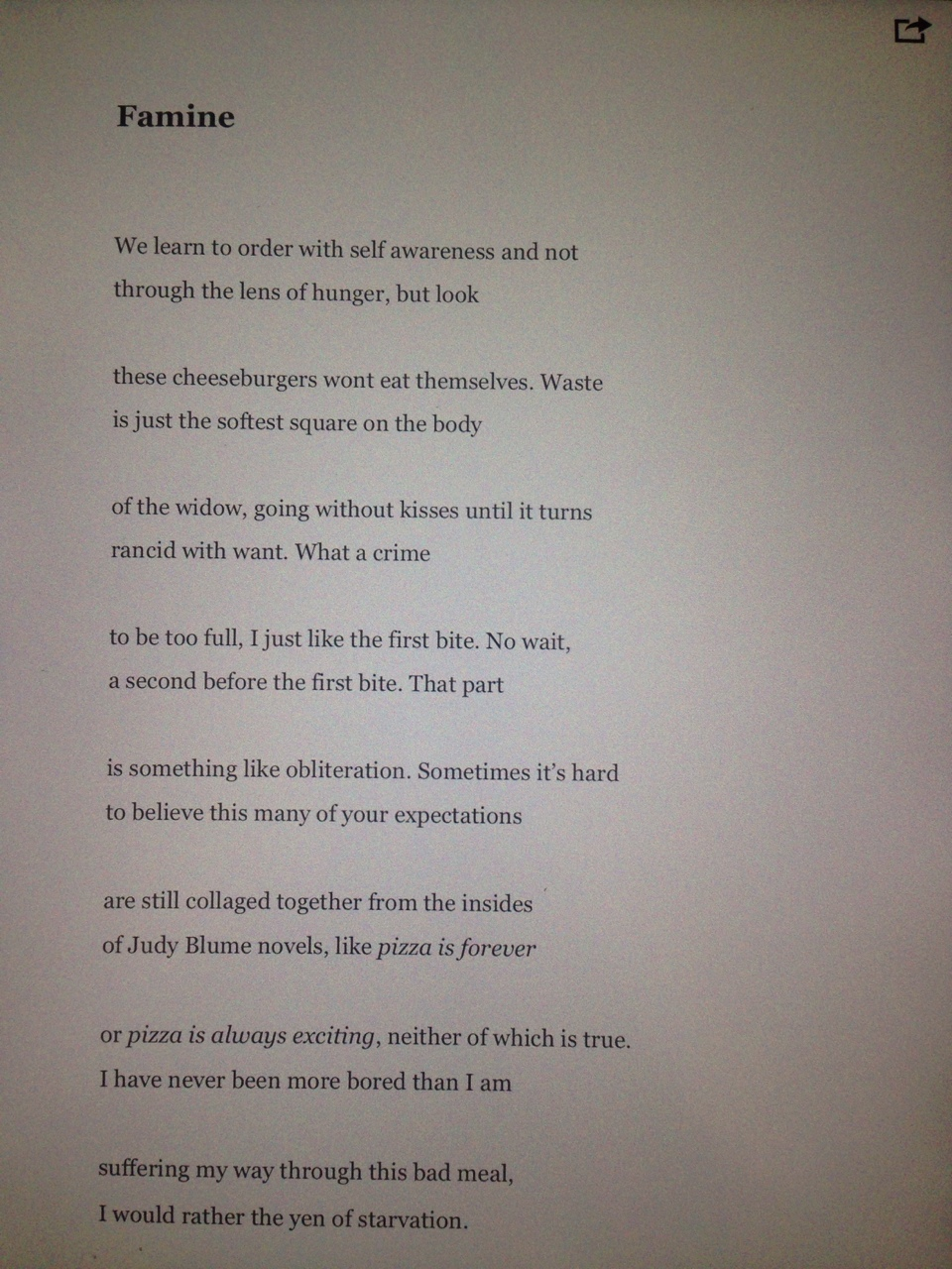 a photo of an ipad of a poem i wrote a little while ago (pizza is 4eva tho, I didn't mean that bit)