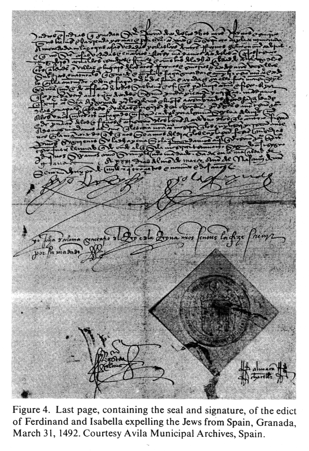 An image of the last page of the Alhambra Decree, or Edict of Expulsion of the Jews from Spain, courtesy of Google images.
