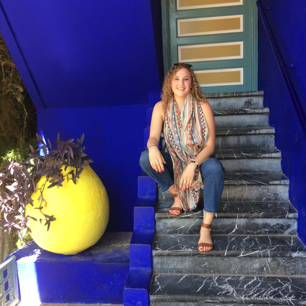 At Yves St. Lauren's famous blue house in Marrakesh.