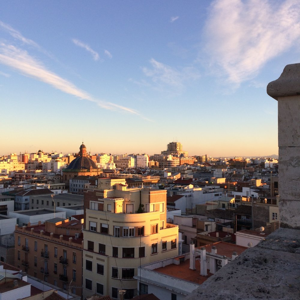 A beautiful sunlit view from the Torres de Quart in Valencia.