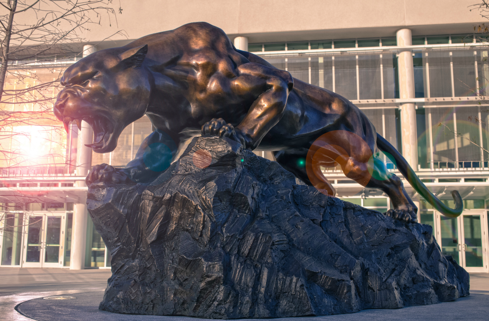FIU's Panther mascot casted in bronze and located at the Biscayne Bay Campus. Photo courtesy of the FIU Foundation.