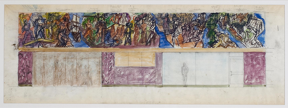 "Conrad Albrizio (American), 1894–1973, New Orleans Union Passenger Terminal Mural Study—""Age of Exploration"" and ""Age of Colonization,"" c. 1954, watercolor, graphite on paper, LSUMOA 2005.2.3"