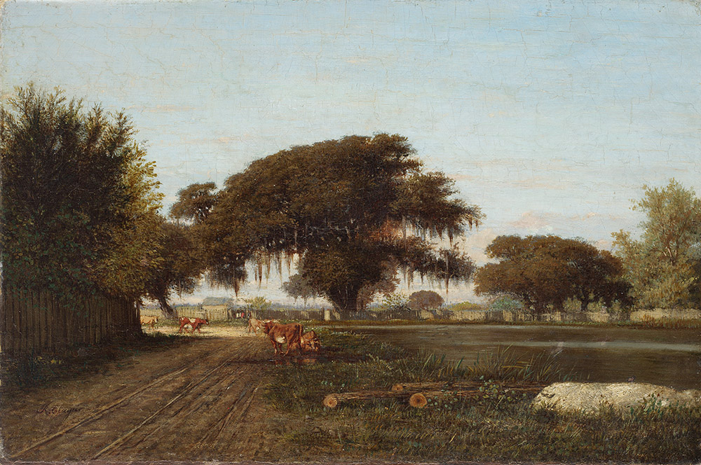 Richard Clague (1821–1873), Farm in St. Tammany, circa 1851–1870, oil on canvas, gift of Mr. and Mrs. W. E. Groves. LSUMOA 60.2.2
