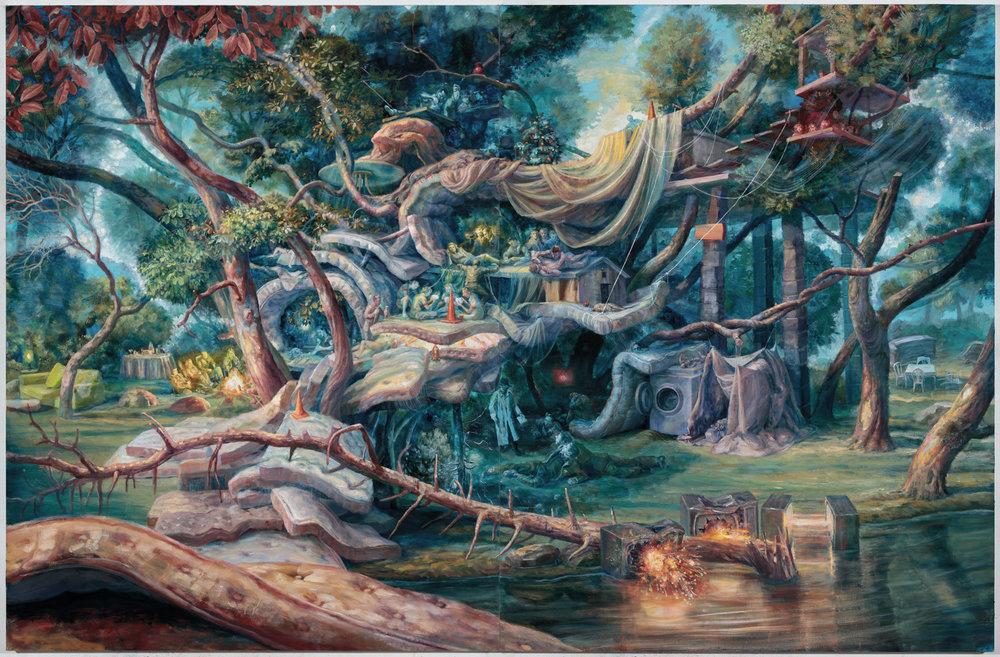 Julie Heffernan,  Camp Bedlam ,2016,oil on canvas,Courtesy of Catharine Clark Gallery.