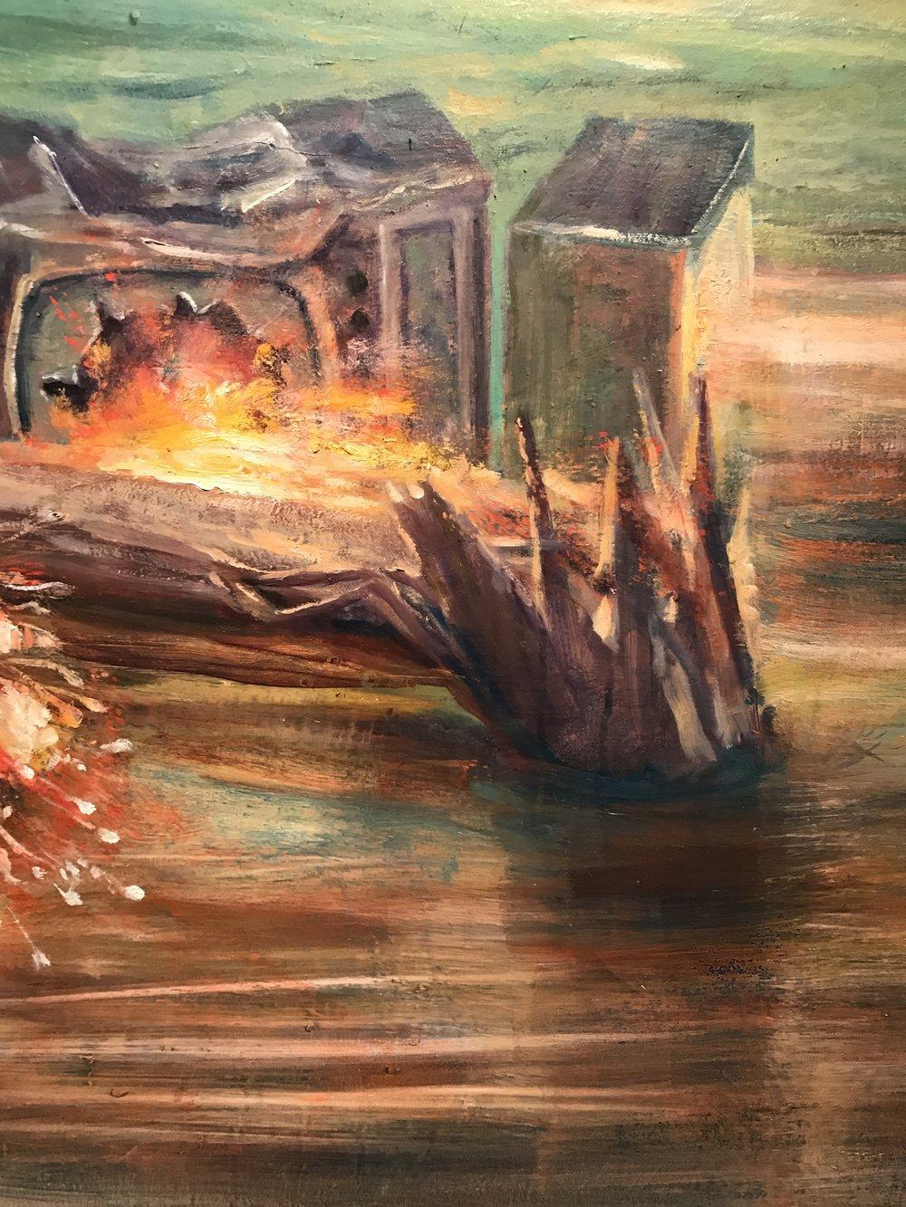 Julie Heffernan,  Camp Bedlam  (detail),2016,oil on canvas,Courtesy of Catharine Clark Gallery.
