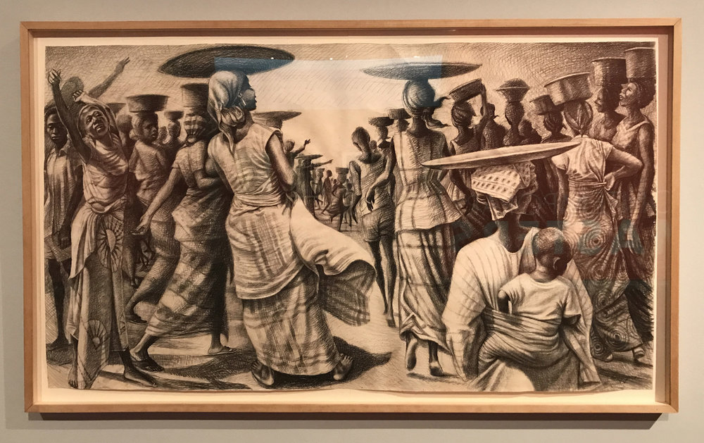 John Biggers (American, 1924 – 2001), A Bountiful Catch, 1970, litho pencil on paper, Gift of Genevieve Vaughan Rossi-Landi