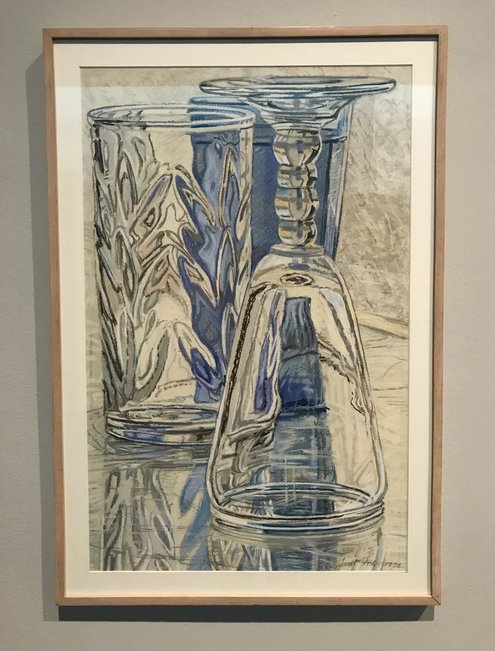 Janet Fish (American, b. 1938), Blue Glass, 1976, pastel on paper, Museum Purchase Funded by the Corpus Christi Caller-Times, the National Endowment for the Arts, and Mestina Oil & Gas Company