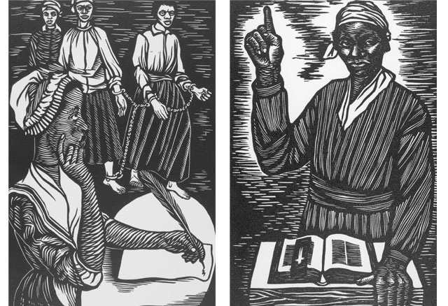 LEFT: Elizabeth Catlett,  Phyllis Wheatley  (from Black Woman Series), 1947, linocut, 2nd edition, 1989, From the Myrna Colley-Lee Collection. RIGHT: Elizabeth Catlett,  In Sojouner Truth I fought for the rights of women as well as Negroes  (from the Negro Woman series), 1946–1947, 1989 edition, linocut, From the Myrna Colley-Lee Collection.