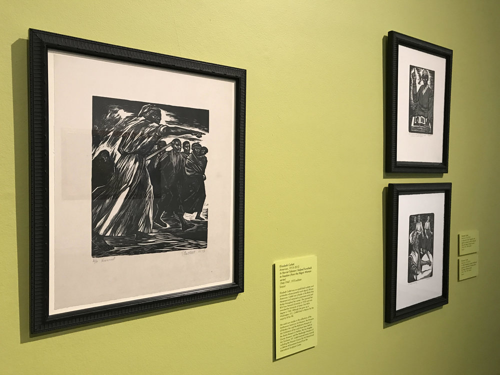 All linocuts by Elizabeth Catlett. Left: In Harriet Tubman I helped hundreds to freedom (from the Negro Woman series), 1946–1947, 1975 edition. Top right: In Phillis Wheatley I proved intellectual equality in the midst of slavery (from the Negro Woman series), 1946–1947, 1981 edition. Bottom Right: In Sojouner Truth I fought for the rights of women as well as Negroes (from the Negro Woman series), 1946–1947, 1989 edition.