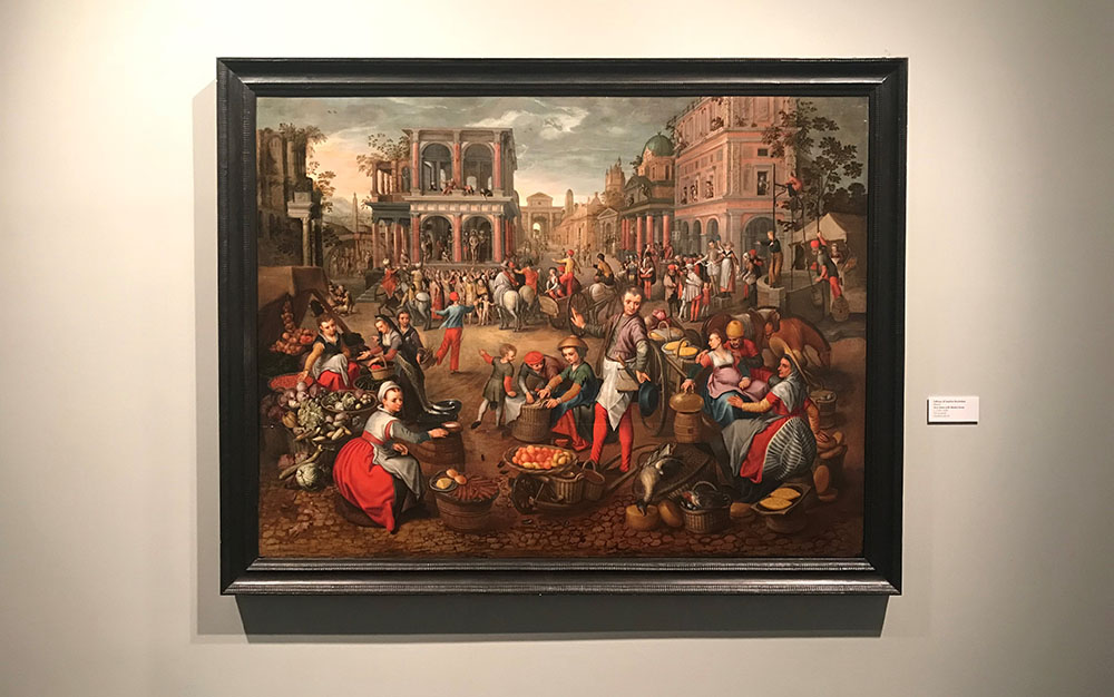 Follower of Joachim Beuckelaer (Flemish),  Ecce Homo with Market Scene,  c. 1550–1600, oil on panel, LSUMOA 85.35
