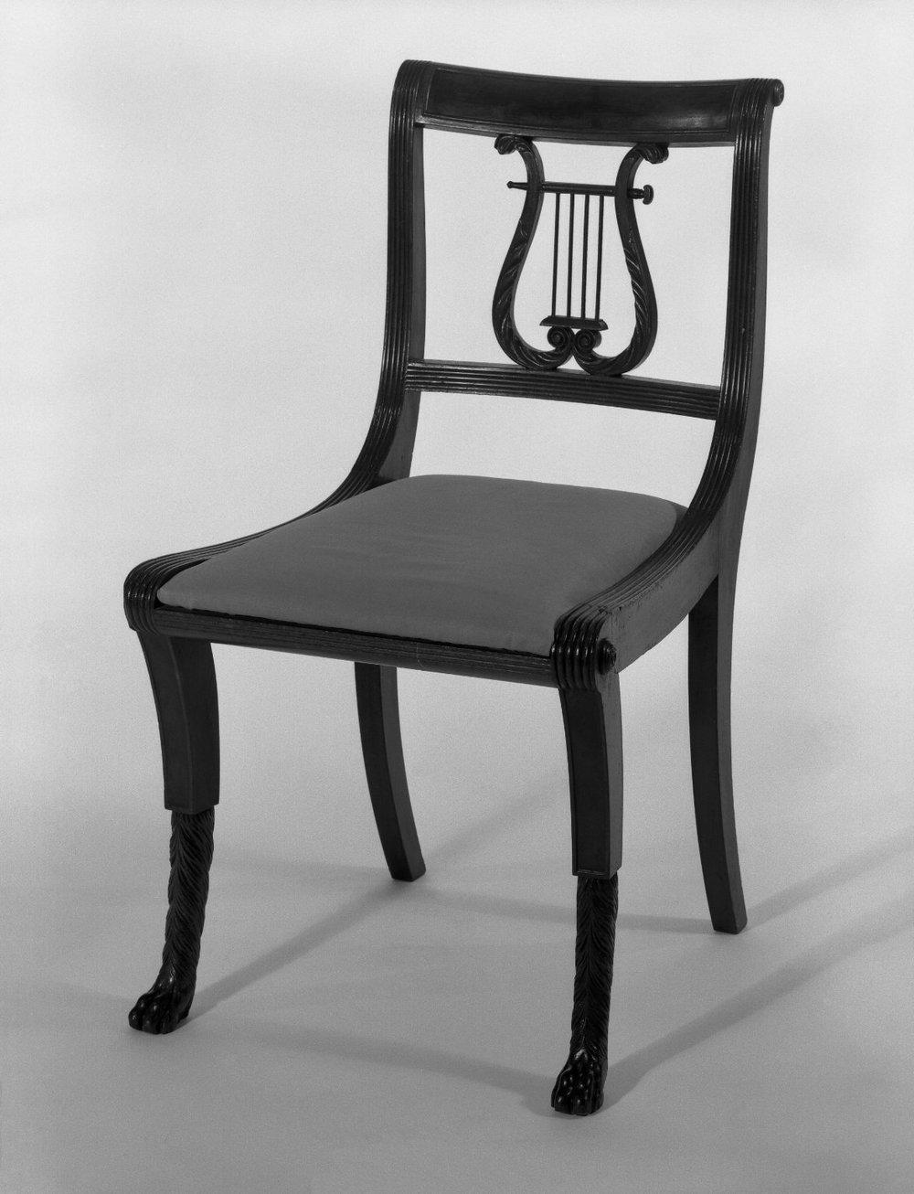 Duncan Phyfe (American, born Scotland, 1768-1854).  Chair, One from a Set of 10 , 1816. Mahogany, watered damask, height of back: 23 1/4 in. (59.1 cm). Brooklyn Museum, H. Randolph Lever Fund, 67.19.2. Creative Commons-BY (Photo:  Brooklyn Museum , 67.19.2_bw_IMLS.jpg)