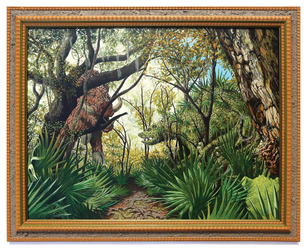 Jonathan Mayers,  Le Grand Cochon boisé contre Le Gardien palmiste  (The Great Wooded Boar vs. The Palm Guardian); acrylic and Jean Lafitte sediment on panel, repurposed frame; 33 x 41 inches; 2016; Courtesy of the artist and Arthur Roger Gallery (image by Michael Smith
