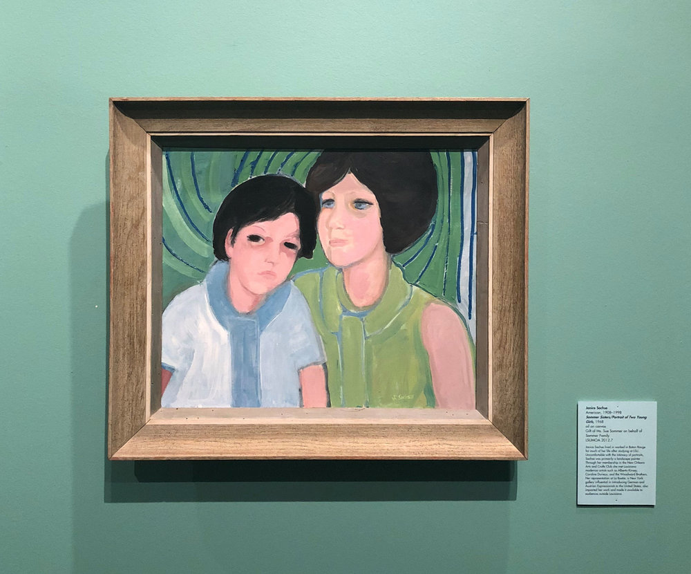 Janice Sachse (American, 1908–1998),  Sommer Sisters/Portrait of Two Young Girls,  1968, oil on canvas, Gift of Ms. Sue Sommer on behalf of Sommer Family, LSUMOA 2012.7