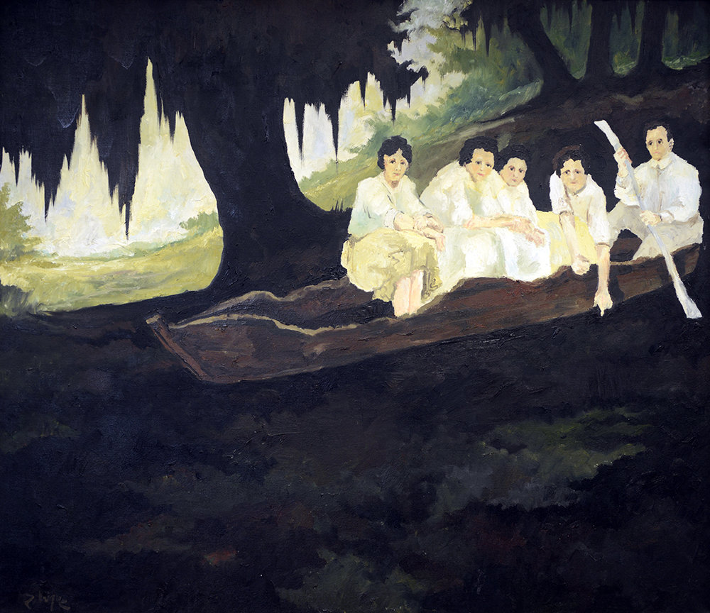 George Rodrigue (American, 1944–2013),  John Courregé's Pirogue,  1973, oil on canvas, Courtesy of the Kenny Begneaud Family