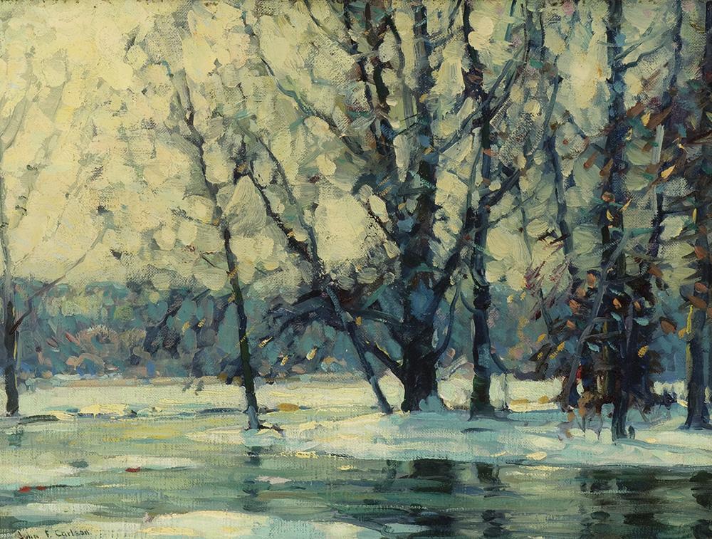 John Fabian Carlson (American (born in Denmark) 1875-1947),  Snowy Waters , c. 1920-1927, oil on canvas, Museum Purchase, Reading Public Museum, Reading, Pennsylvania.