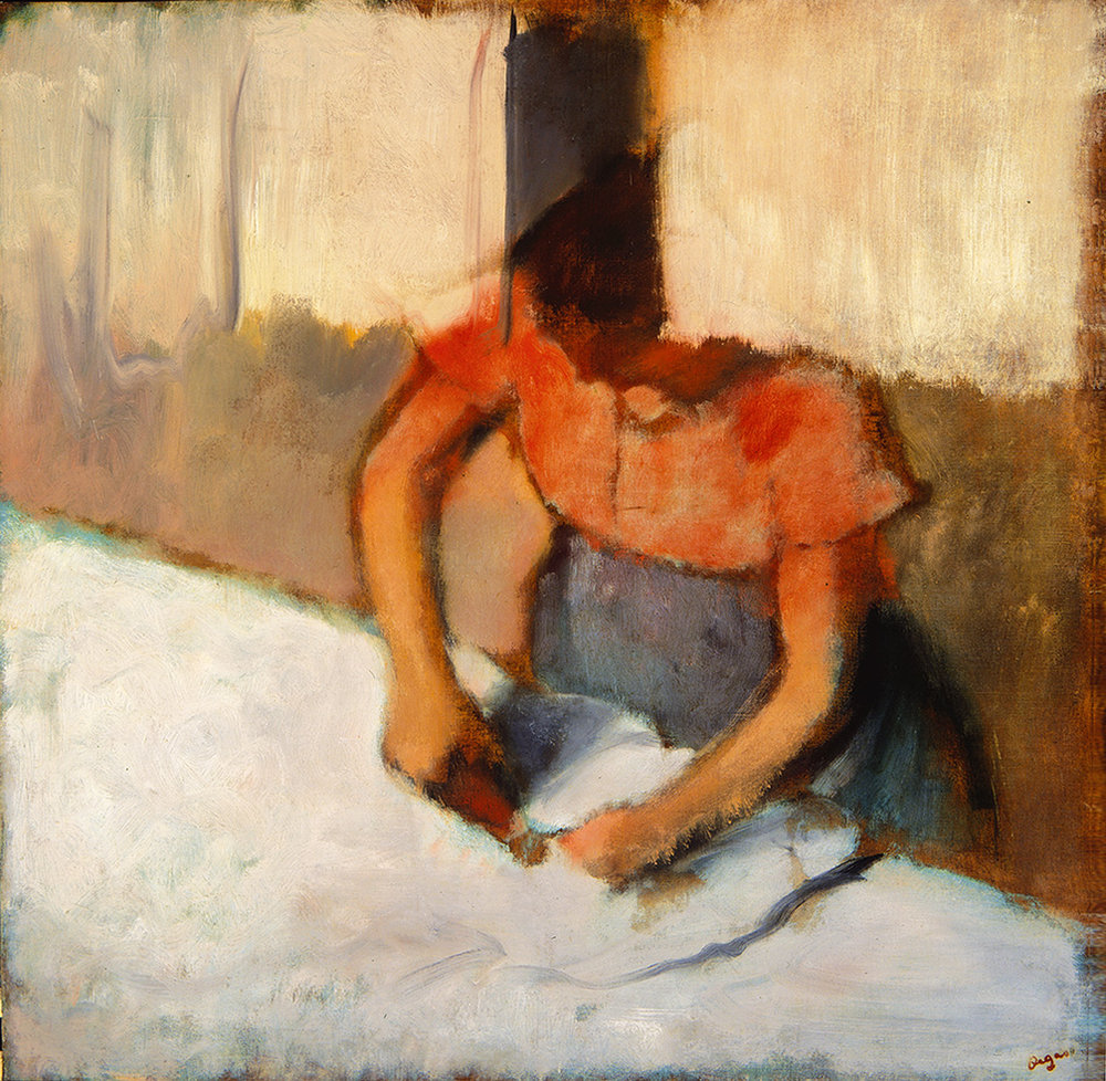 Edgar Degas (French, 1934-1917),  The Laundress Ironing (La Blanchisseuse Repassant) , c. 1882-1886, oil on canvas, Museum Purchase, Reading Public Museum, Reading, Pennsylvania.
