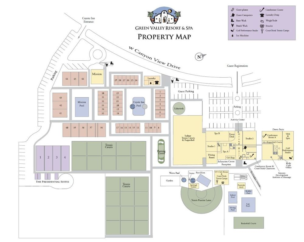 Click on the map above to view a larger version of our property and hotel room layout.