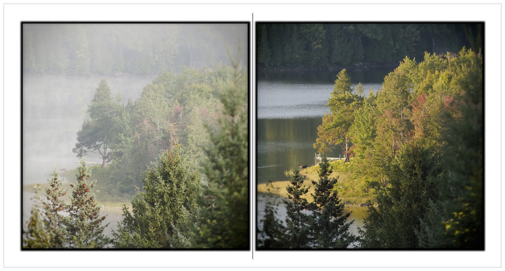 view from Rist porch / morning • evening   ~ Newcomb, NY - in the Adirondack PARK