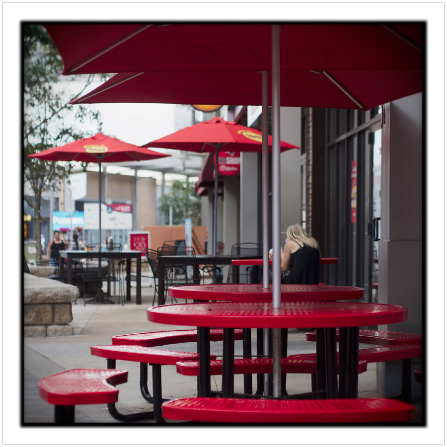 red umbrellas / tables ~ Foxboro, MA.