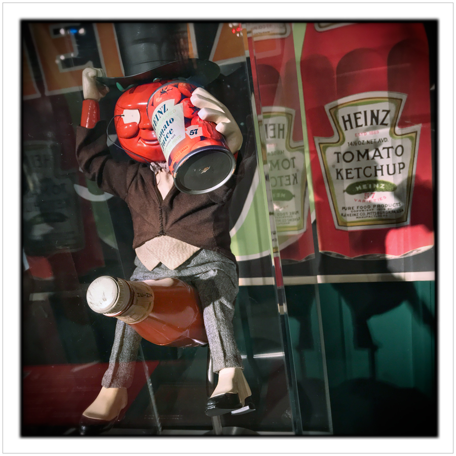 tomato guy riding ketchup bottle   ~ Senator John Heinz History Center / Pittsburgh, PA (embiggenable) •iPhone