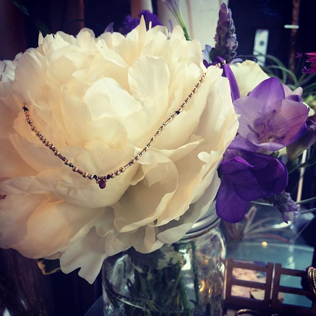 Morse code love Michael and Vincent -14k gold steel and a ruby #casslilien #casslilenjewelry #morsecodewedding #flowersbyyasmine