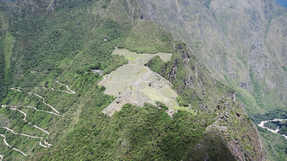 And an aerial view of Machu Picchu from taller Wayna Picchu after a long hike