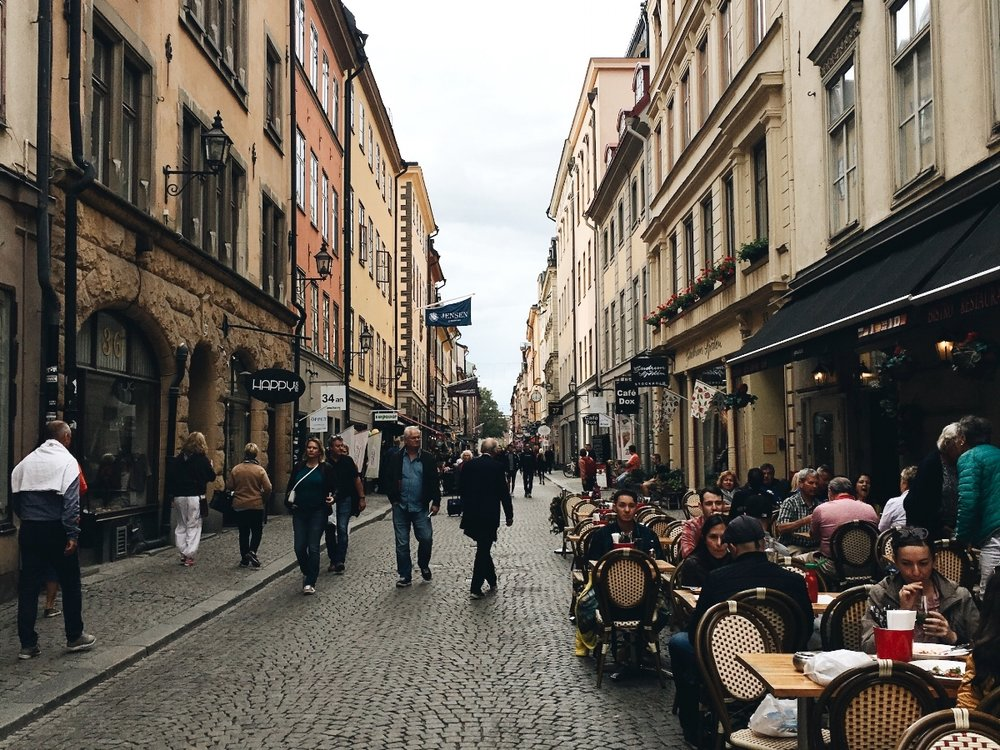 Gamla stan's medieval streets, shops and restaurants