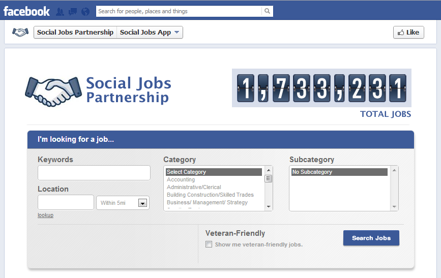 Social Jobs Partnership Facebook, Facebook jobs, Social Media Delivered