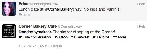 Corner Bakery Twitter Superbowl