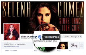 Selena Gomez verified on Facebook