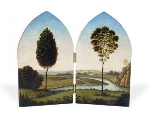 Diptych painting with trees