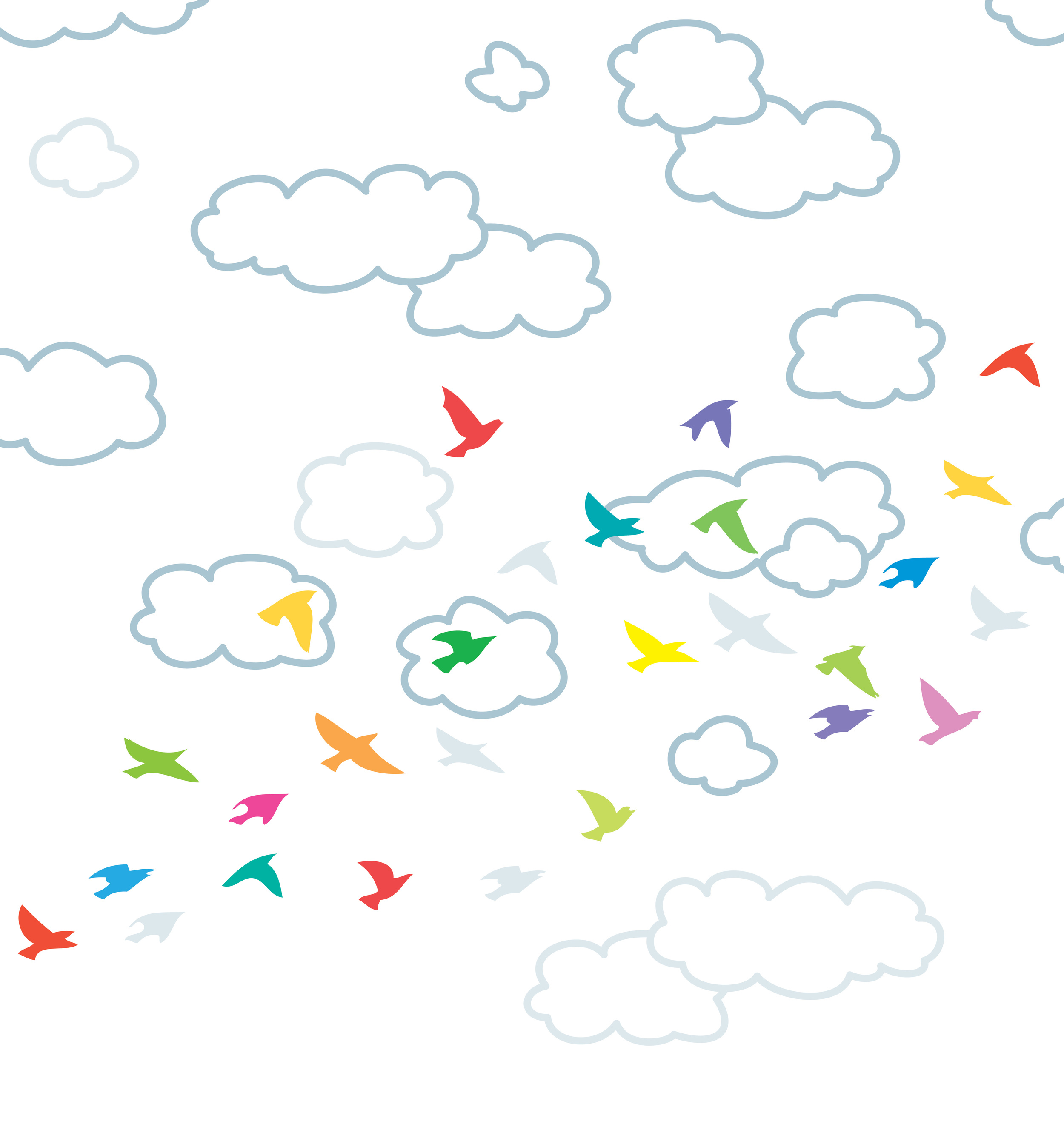 vector colorful outline of flock of flying birds and clouds in the sky