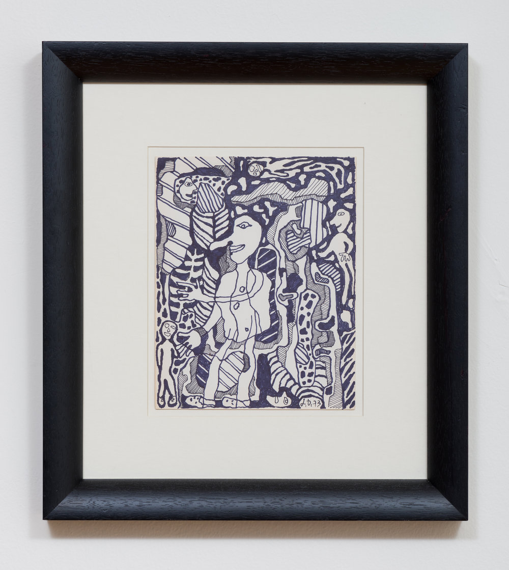 Jean Dubuffet  'Untitled' 1973 Ink on paper 9.75 x 7.75 inches, 18.25 x 16.25 inches framed  Photo by Ruben Diaz
