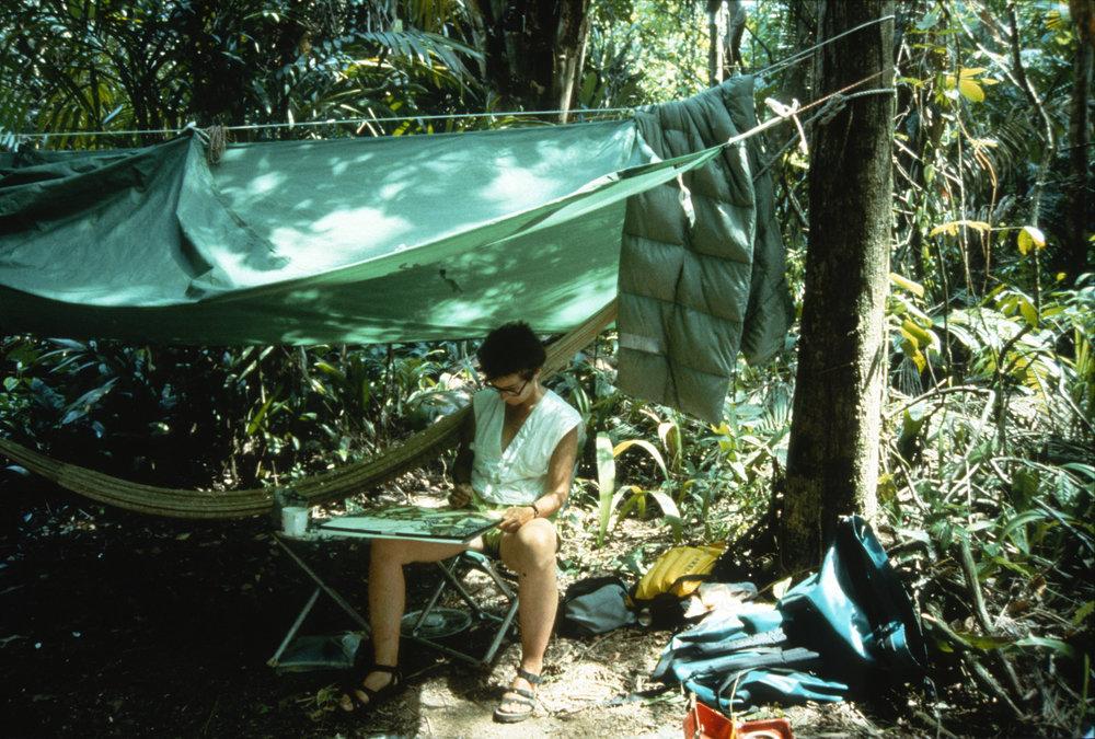 Suzan Pitt painting the jungle of Río Sarstún, Guatemala, 1989