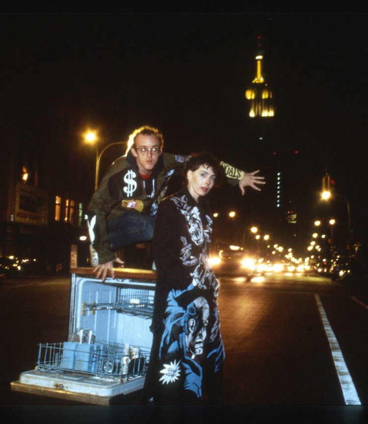 Suzan Pitt with Keith Haring, wearing jackets painted by Suzan, NYC, 1980s