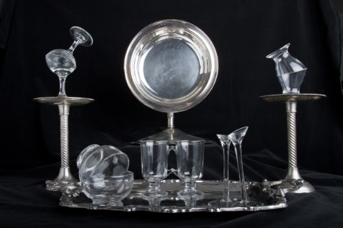 Domestic Bliss   , 2008   Store bought glass, silver platter   21'' x 10''   Photo Credit: Zack Krelle   Object Gallery, Re-appropriate Exhibition.