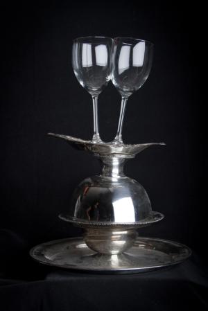 Domestic Bliss III   , 2012   Store bought glass, silver platter   21'' x 10''   Photo Credit: Zack Krelle
