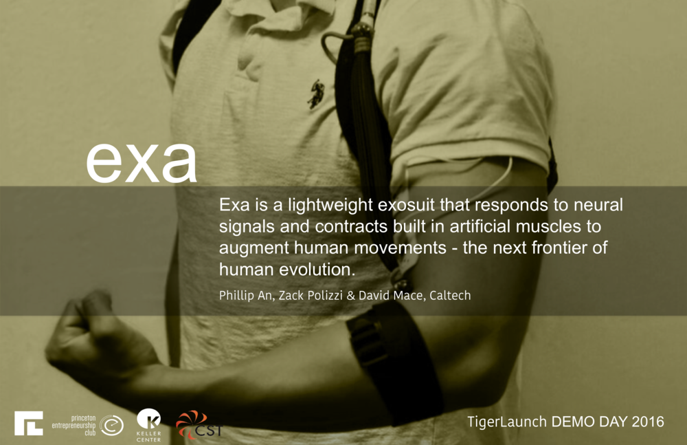 We at Exa want to solve the problem of creating independence for aging and disabled people by assisting the elderly in attaining mobility through a comfortable, wearable exosuit. Specifically, we plan to leverage a system that responds to localized neural signals by contracting McKibben Artificial Muscles built into the suit. As a result, our final product is ergonomic, and responds organically to human movements.