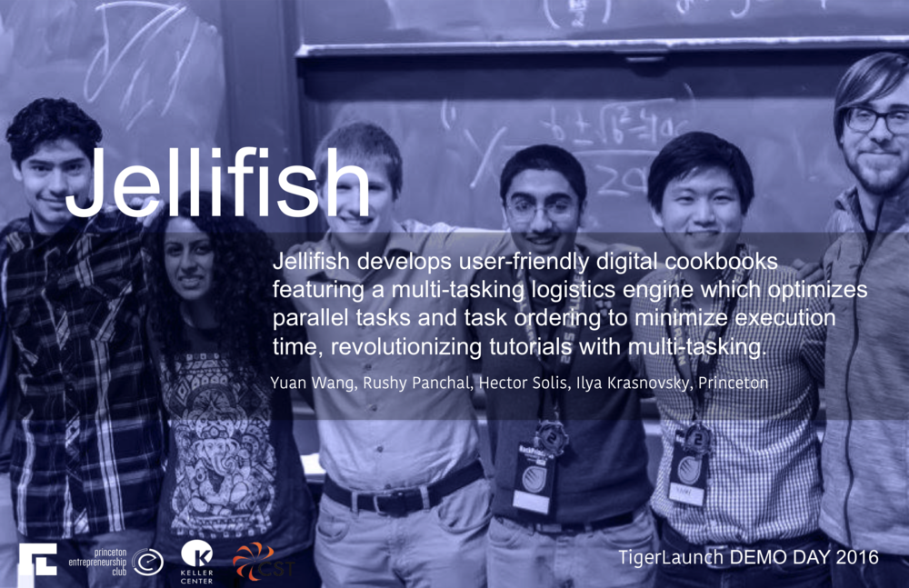 Jellifish develops user-friendly digital cookbooks featuring a multi-tasking logistics engine which optimizes parallel tasks and task ordering to minimize execution time. The Jellifish team hopes that its product will revolutionize tutorials and multi-tasking with an algorithm driven approach to checklisting and efficiency.