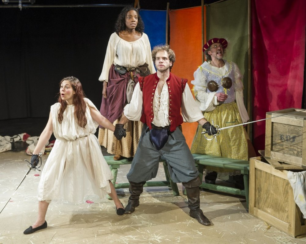Jenny Seastone, Rachel Christopher, Kelsey Kurz, and Grant R. Krause in  The Faire (p hoto by Jacob J. Goldberg)