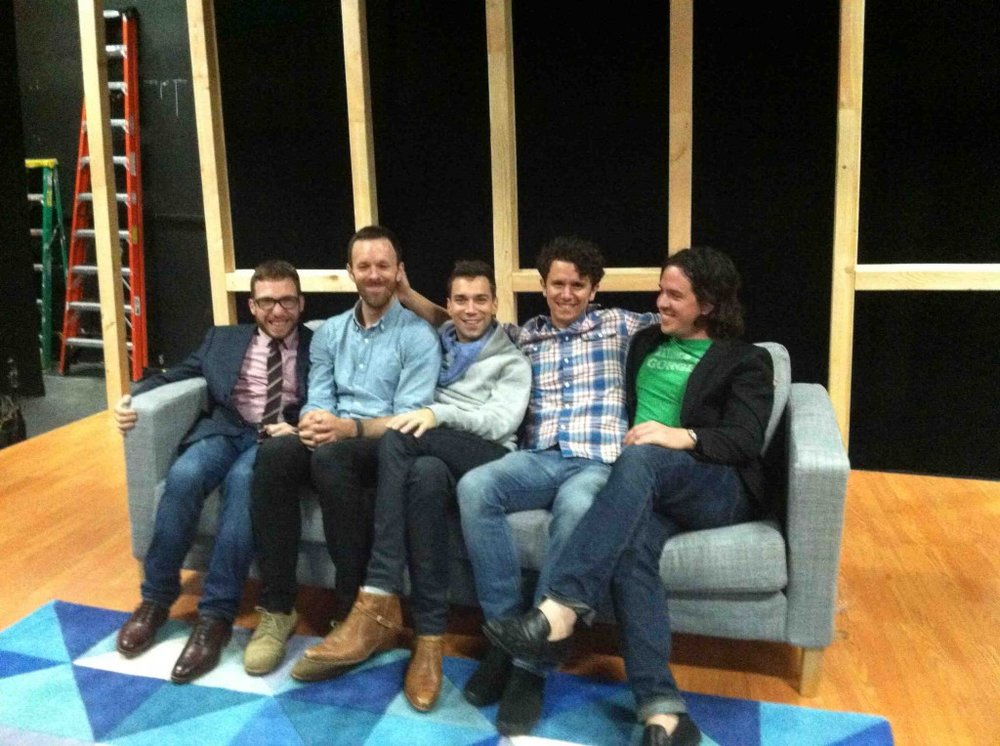 Playwright/Director Michael Perlman (far left) with the cast of From White Plains: Jimmy King, Karl Gregory, Aaron Rossini, and Craig Wesley Divino