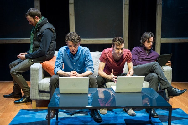 Jimmy King, Aaron Rossini, Karl Gregory, and Craig Wesley Divino in From White Plains (photo by Jacob J. Goldberg)