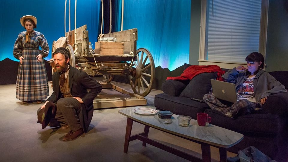 Emily Louise Perkins, Jimmy King and Liba Vaynberg in The Oregon Trail. Photo by Jeremy Daniel