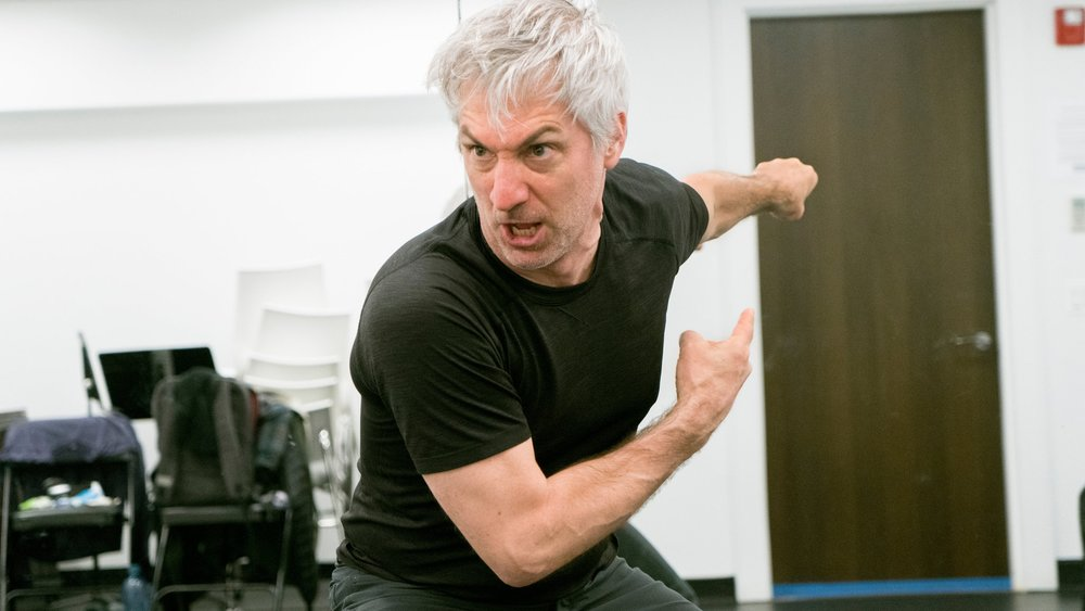 Stephan Wolfert in rehearsal for  Cry Havoc!  Credit: Sara Krulwich/The New York Times