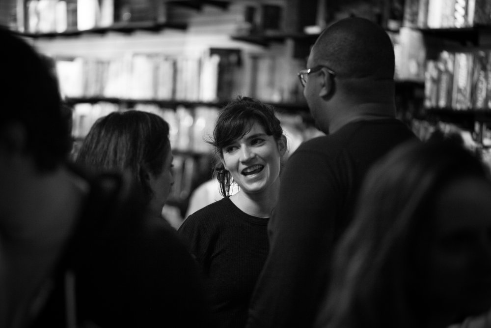 Playwright Liba Vaynberg with audience members after the reading. Photo by Katherine Oostman