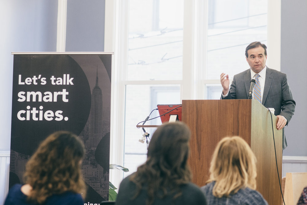 Pictured: Cincinnati Mayor John Cranley speaking at Venture Smarter's Smart Cincy Summit on April 25th, 2017. This week Cranley also joined 'Mayors for 100 percent Clean Energy' committing Cincinnati city government to move to 100 percent clean and renewable energy by 2035.