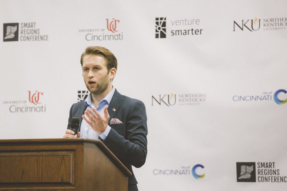 Venture Smarter CEO and founding member of the Smart Cincy leadership team Zack Huhn talks about Smart City Development Goals at the 2017 Smart Regions Conference