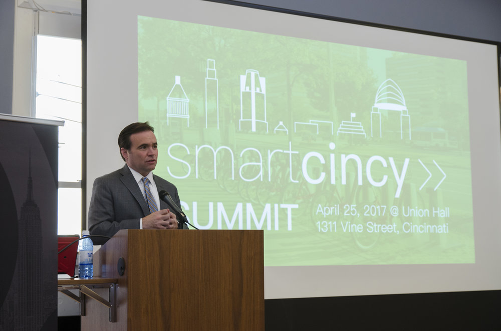 Mayor John Cranley at the 2017 Smart Cincy Summit about one year ago